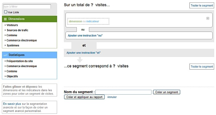 Interface de création de segments avancés sous Google Analytics