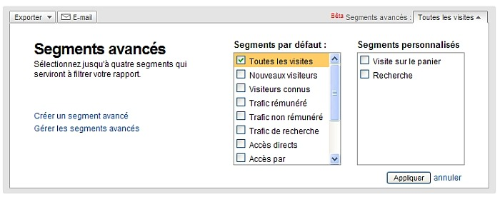 Segments avancés sous Google Analytics